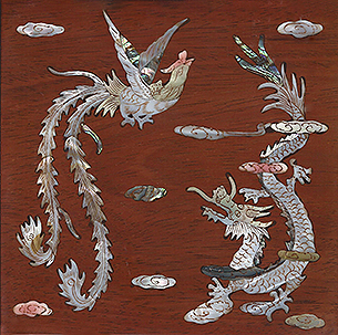 Dragon and Phoenix Mother of Pearl