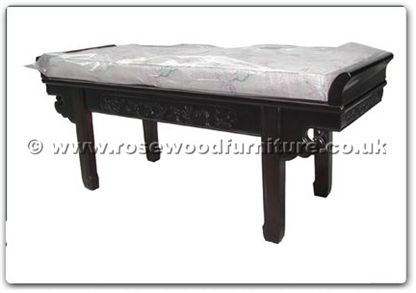 Rosewood Furniture Range  - ff113r18ads - Altar shap3 dressing stool flower and bird design with cushion
