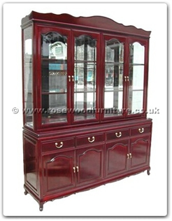 Rosewood Furniture Range  - ff114r14hutch - Queen ann legs buffet with top (with spot light  and  mirror back) set of 2