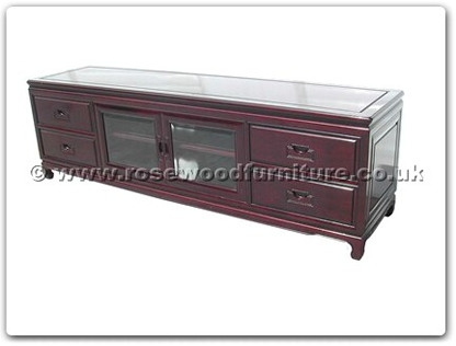 Rosewood Furniture Range  - ff114r23hifi - Hi-fi cabinet plain design with 4 wooden handle drawers and 2 wooden handle glass doors