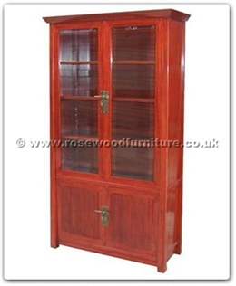 Rosewood Furniture Range  - ff124r22sgc - Shinto style cabinet with 2 wooden doors and 2 glass doors