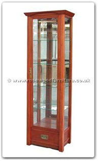 Rosewood Furniture Range  - ff128r51gcab - Shinto style glass cabinet with 1 drawer  and  1 glass door
