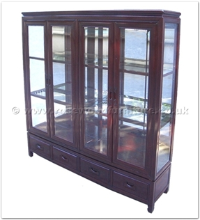 Rosewood Furniture Range  - ff156r24cab - Glass cabinet plain design - 4 drawers and 4 doors