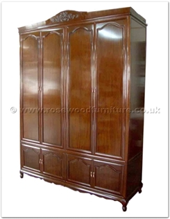 Rosewood Furniture Range  - ff160r36w - Queen ann legs wardrobe - full flower carved top