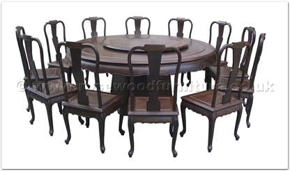 Rosewood Furniture Range  - ff18287bwdin - Blackwood round dining table curve style apron - 12 chairs - pedestal legs -42 inch lazy susan