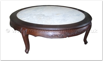 Rosewood Furniture Range  - ff24984cof - Queen ann legs round coffee table flower carved w/marble top