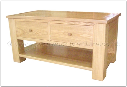 Rosewood Furniture Range  - ff36f9cof - Ashwood Coffee Table with 2 drawers and bottom shelf