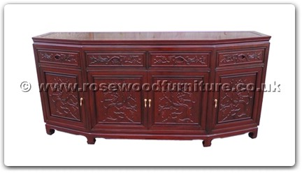Rosewood Furniture Range  - ff52e16bufb - Angle buffet full flower and bird carved with 4 doors and 4 drawers