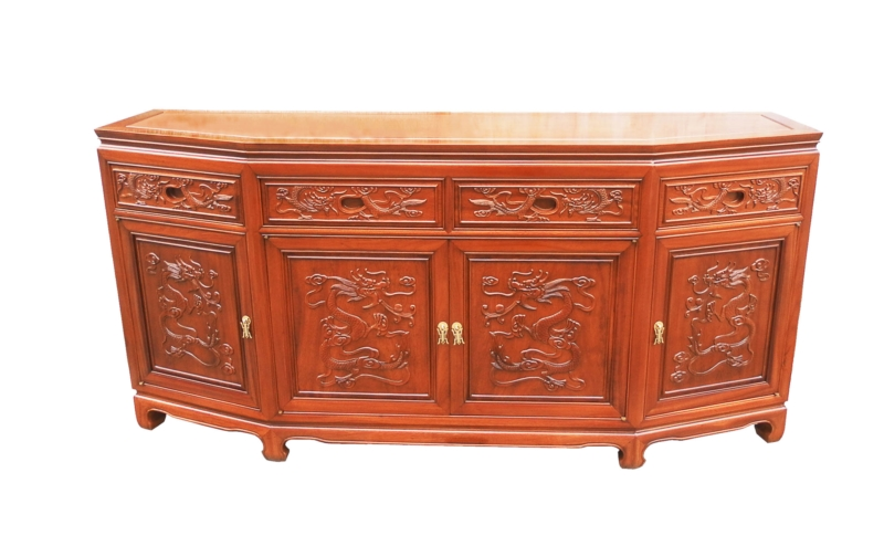 Rosewood Furniture Range  - ff54e4bufd - angle buffet full dragon carved w/4 doors & 4 deawers