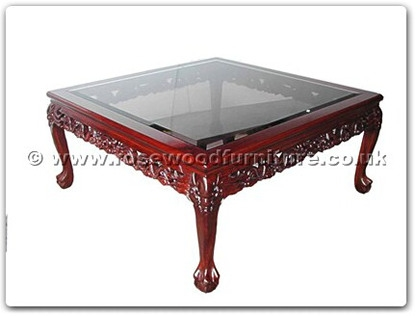Rosewood Bevel Glass Coffee Table Dragon Design Tiger Legs Ff5h4cof