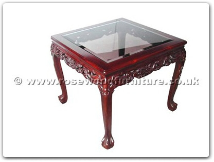 Rosewood Furniture Range  - ff5h7end - Bevel glass end table dragon design tiger legs