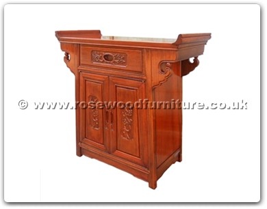 Rosewood Furniture Range  - ff7031b - Altar cabinet with half square flower and bird carved
