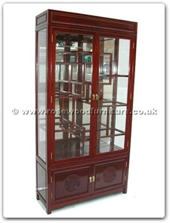 Rosewood Furniture Range  - ff7210l - Display cabinet longlife design with spot light  and  mirror back