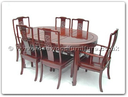 Rosewood Furniture Range  - ff7302b - Oval dining table f and b design with 2+4 chairs