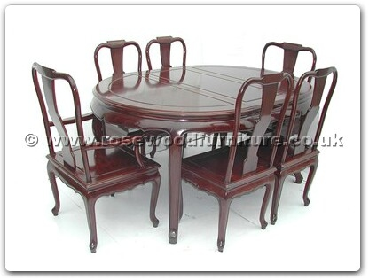 Rosewood Furniture Range  - ff7302q - Queen ann legs oval dining table with 2+4 chairs