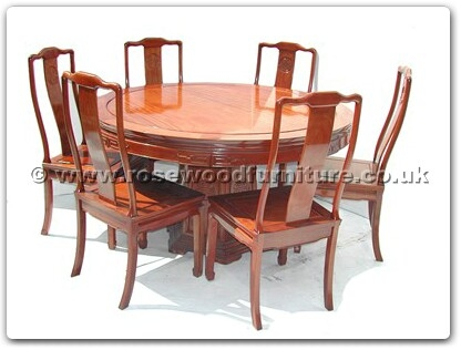 Rosewood Furniture Range  - ff7307l - Round dining table longlife design with 6 chairs