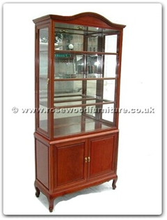 Rosewood Furniture Range  - ff7317 - Queen ann legs curved top glass cabinet with spot light and mirror back