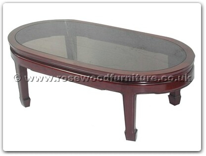 Rosewood Furniture Range  - ff7328p - Smoke Glass Top Oval Coffee Table Plain Design
