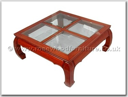 Rosewood Furniture Range  - ff7329c4g - 4 section bevel glass top curved legs coffee table