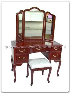 Rosewood Furniture Range  - ff73571i - Queen ann legs dressing table with mirror and stool