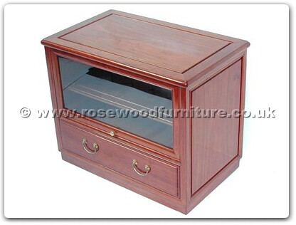 Rosewood Furniture Range  - ff7423p - T.v. cabinet with 1 drawer and 1 glass door plain design