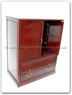 Rosewood Furniture Range  - ff7438ps - T.v. cabinet Open and Slide Doors with Drawers