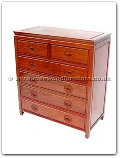 Rosewood Furniture Range  - ff7445l - Chest of 6 drawers longlife design