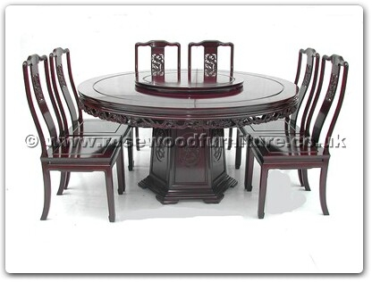 Rosewood Furniture Range  - ff7607d - Round corner dining table dragon design with 8 chairs and 30 inch lazy susan