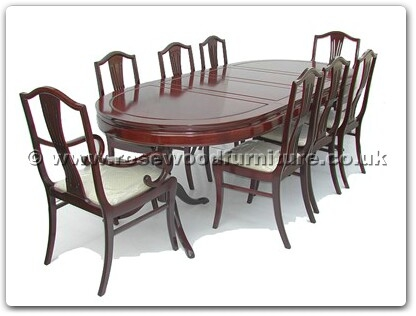 Rosewood Furniture Range  - ff7955m - Oval pedestal legs dining table w2+6 monaco style chairs