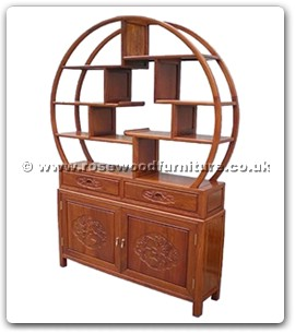 Rosewood Furniture Range  - ffbufct - Buffet with 2 drawers and 2 doors flower and bird design with circular curio top
