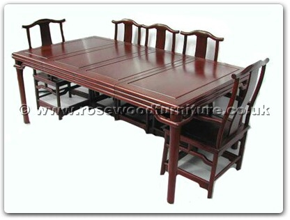 Rosewood Furniture Range  - ffbwm80din - Black wood sq ming style dining table with 2+6 chairs