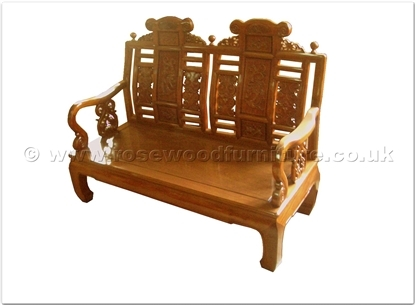 Rosewood Furniture Range  - ffcl2fsf - Curved legs 2 seaters sofa flower carved