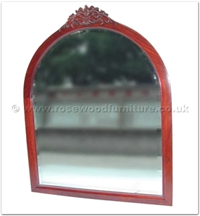 Rosewood Furniture Range  - ffctcmir - Curved top wood frame bevelled mirror Solid Dragon Carved