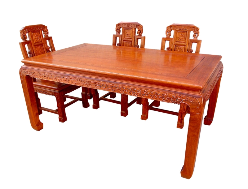 Rosewood Furniture Range  - ffdinfcha - dining table full carved w/6 chairs
