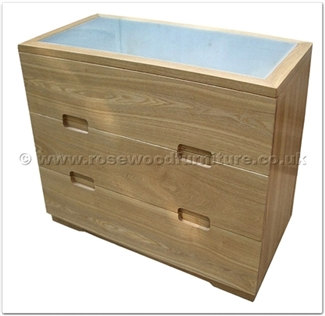 Rosewood Furniture Range  - ffff8008a - Ashwood glass top chest of 3 drawers