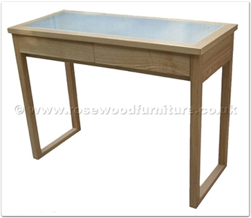 Rosewood Furniture Range  - ffff8015a - Ashwood glass top dressing table - 2 drawers