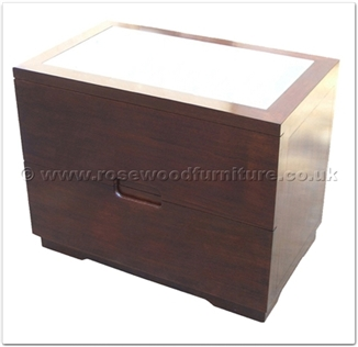 Rosewood Furniture Range  - ffff8016r - Redwood glass top bedside cabinet with 2 drawers