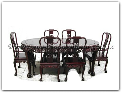 Rosewood Furniture Range  - ffgt78tab - Oval dining table grape design tiger legs with 2+4 chairs