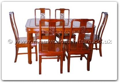 Rosewood Furniture Range  - ffhfd065 - Rosewood Round Corner Dining Table F and D Design with 6 chairs