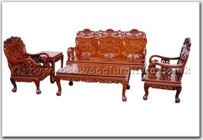Bon Rosewood Sofa Set 5pcsith Running Horse Design Four Seated Wooden Without  Cushions