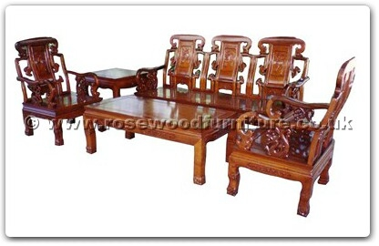 Rosewood Furniture Range  - ffhfl019 - Rosewood Sofa Set 5Pcsith Set-Ru-yi Design Excluding Cushion Couch