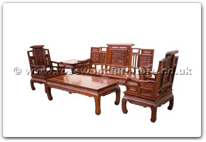 Rosewood Furniture Range  - ffhfl021 - Rosewood Sofa Set  (5Pcsith Set)-Qing Style (Excluding Cushion) Couch