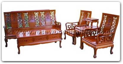 Rosewood Furniture Range  - ffhfl127 - Rosewood Sofa Set ith  Hign Back (5Pcsith Set) Excluding Cushion Couch