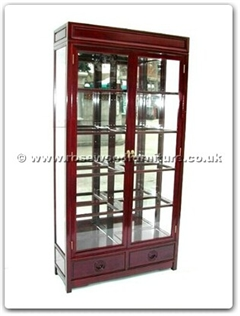 Rosewood Furniture Range  - ffl40glass - Glass cabinet longlife design with spot light and mirror back