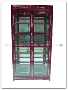 Rosewood Furniture Range  - ffmopgla - Glass cabinet m.o.p. design with spot light  and  mirror back