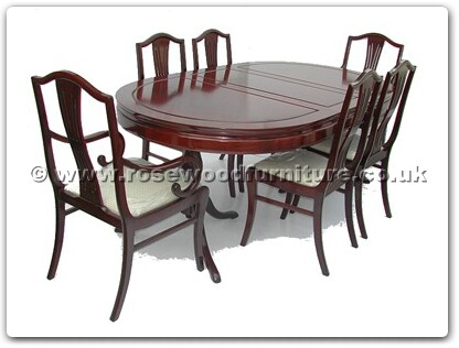 Rosewood Furniture Range  - ffopm78tab - Oval pedestal legs dining table w2+4 monaco style chairs