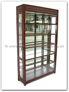 Rosewood Furniture Range  - ffp48glass - Black wood glass cabinet with spot light  and  mirror back