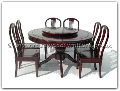 Rosewood Furniture Range  - ffradining - Pedestal leg round corner dining table with 8 american style side chairs and 30 inch round lazy susan