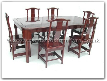 Rosewood Furniture Range  - ffrmtabc - Round Corner Ming Style Dining Table With 6 Chairs