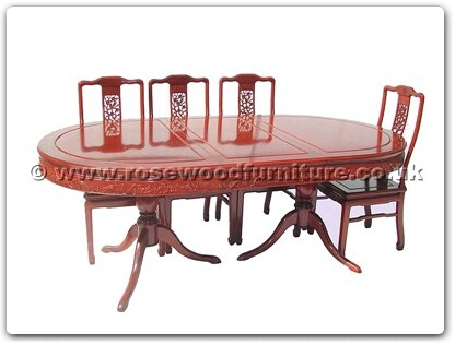 Rosewood Furniture Range  - ffrpbdin - Round pedestal legs oval dining table solid f and b design with 8 side chairs